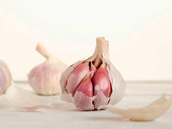pink garlic photography with with visible cloves