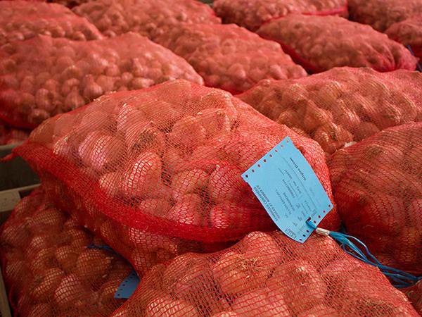 Photo de sacs d'ail certifié avec étiquette bleu du SOC
